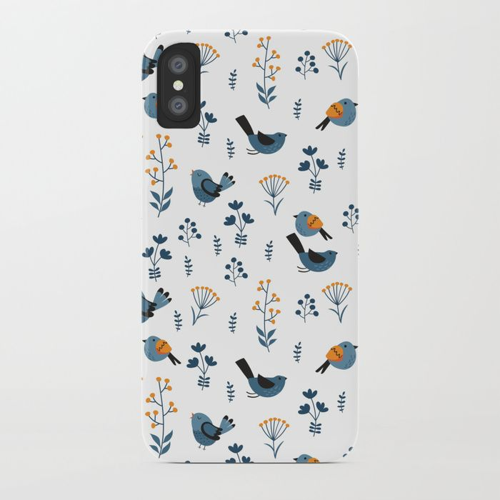 Birds and flowers background iPhone Case