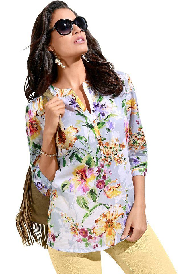 Lady Bluse in Baumwoll-Batist-Qualität ab 44,99€. Bluse im Blüten-Dessin, Baumwolle, Figurumschmeichelnde Form, 3/4-lange Ärmel bei OTTO