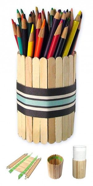 Popsicle sticks, tin can = pencil holder. Could paint the sticks to fit your decor or favorite sports team!