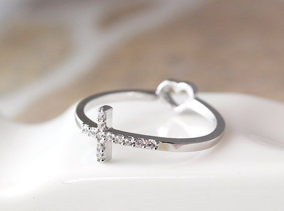 Hey, I found this really awesome Etsy listing at https://www.etsy.com/listing/182281539/cross-ring-rearside-tiny-heart-love-ring