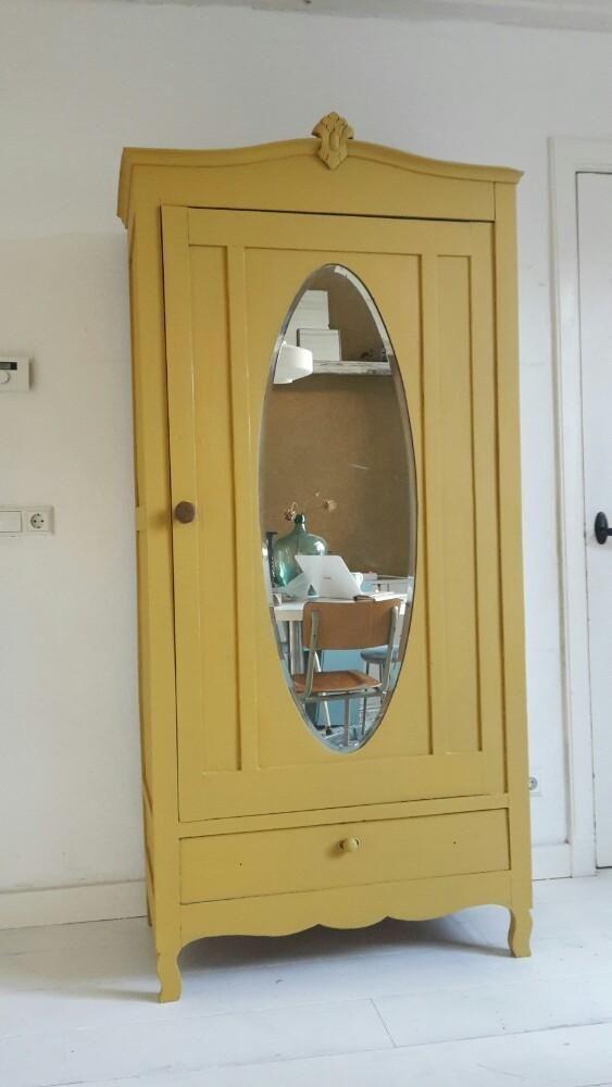 Spiksplinternieuw MARKTPLAATS | #Antieke #spiegelkast #okergeel #kledingkast | home MR-27