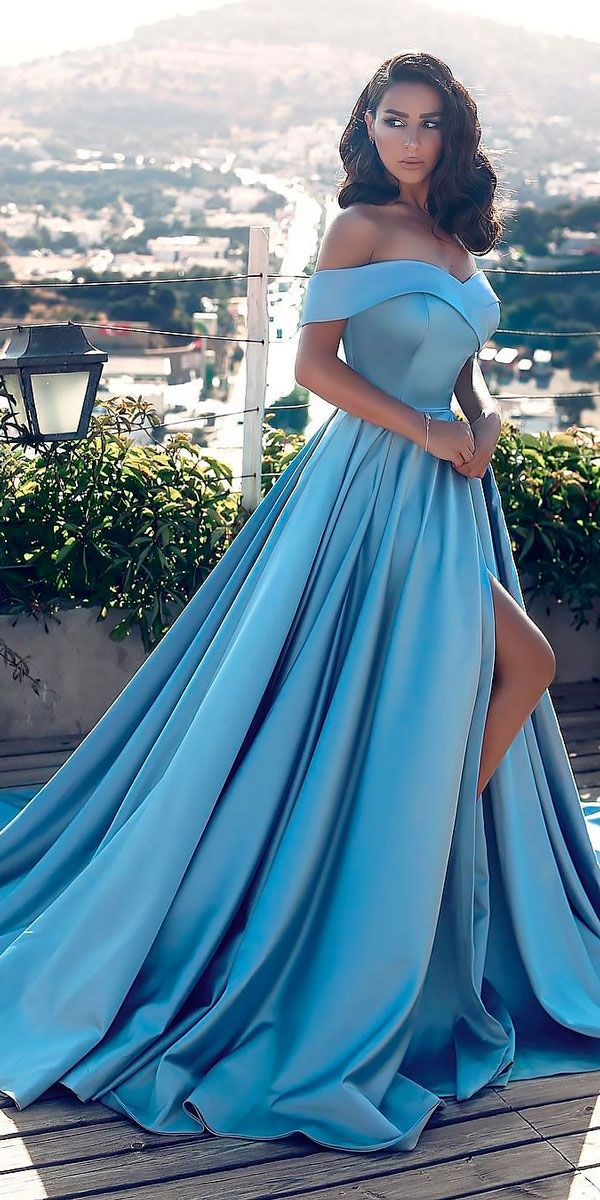 21 Adorable Blue Wedding Dresses For Romantic Celebration ❤ bright a line off the high slit blue wedding dresses said mhamad ❤ See more: http://www.weddingforward.com/blue-wedding-dresses/ #wedding #bride