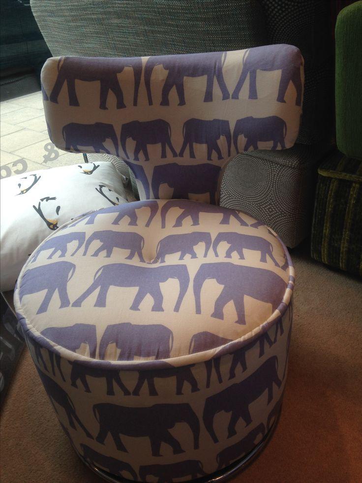 "Small swivel chair - in Andrew Martin's ""Parade - denim"" 100% cotton print."