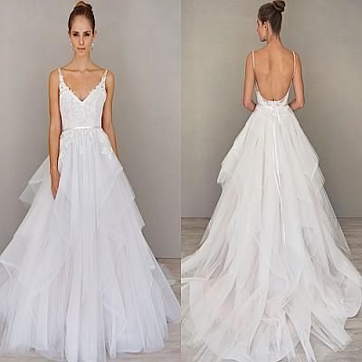 Lovely Spaghetti Straps A Line Wedding Dresses Backless Sweep Train Organza Wedding Gown Alvina Valenta Bridal Gown