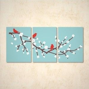 cherry blossom triptych.  With Vinyl sticker, this wouldn't be too hard to make...