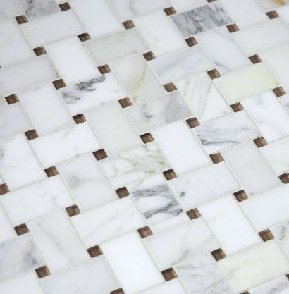 Akdo Fusion Basketweave Mosaic Calacatta Amp Mohave Brown Clear Glass Bathroom Remodel Ideas