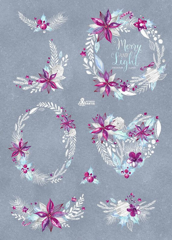 This set of 10 high quality hand painted watercolor floral Bouquets, Wreaths and Backgrounds in Hires. Perfect graphic for wedding invitations,
