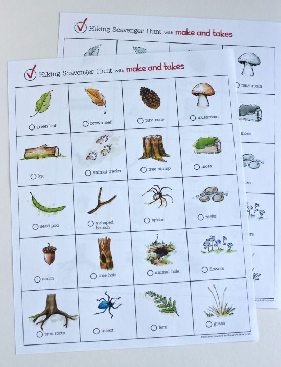 Free Hiking Scavenger Hunt Printables @MakeandTakes.com.com
