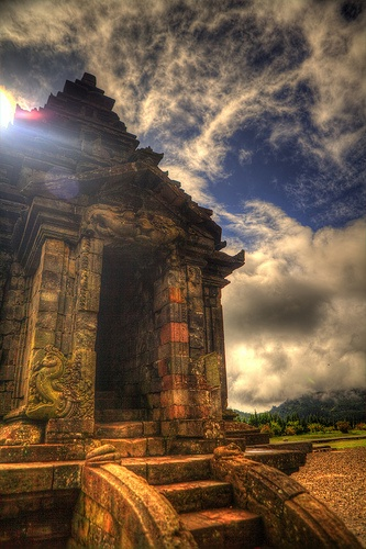 "Dieng Plateau - Java - Indonesia.Visiting a temple comlex on the Dieng Plateau. Marvellous!    Dieng Plateu, is a marshy plateau that forms the floor of a caldera complex on the Dieng active volcano complex near Wonosobo, Central Java, Indonesia. Referred to as ""Dieng"" by Indonesians, it sits at 2,000m above sea level far from major population centres. The name ""Dieng"" comes from Di Hyang which means ""Abode of the Gods"". More at wikipedia."