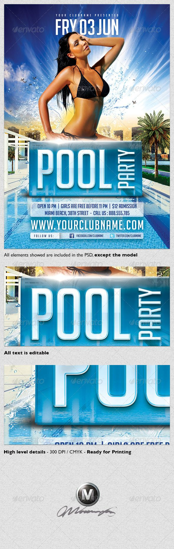 17 best images about flyers on pinterest birthday for Club piscine flyer