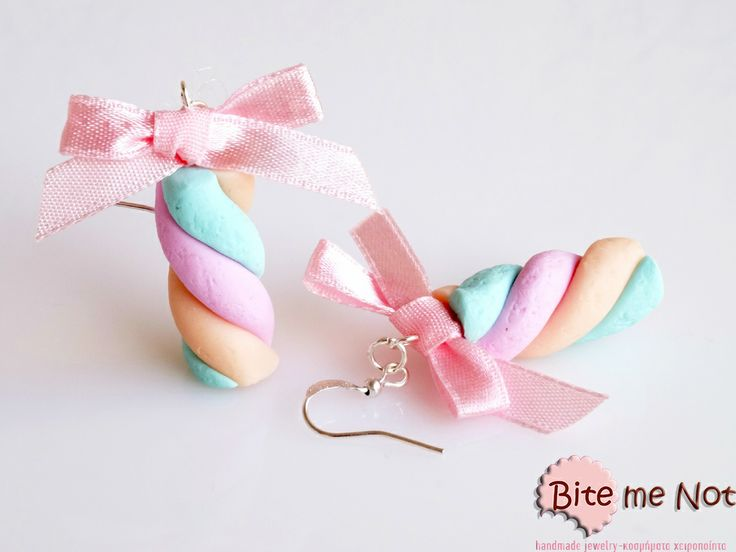 Marshmallows! Silver plated hook earrings,marshmallows pink- turquoise ,made out of polymer clay.