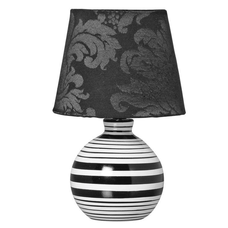 Abajur Listrado em Cerâmica. Acessório decorativo listrado nas cores preto e branco para deixar a decoração da sua sala muito mais elegante.