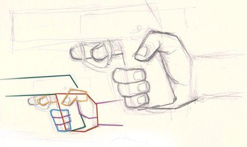 Voorbeeld hoe de hand het geweer vast moet houden. Ik heb dit plaatje uitgekozen want ik vond dat het een duidelijk voorbeeld is. In mijn plaatje ga ik de vorm van de hand gebruiken.