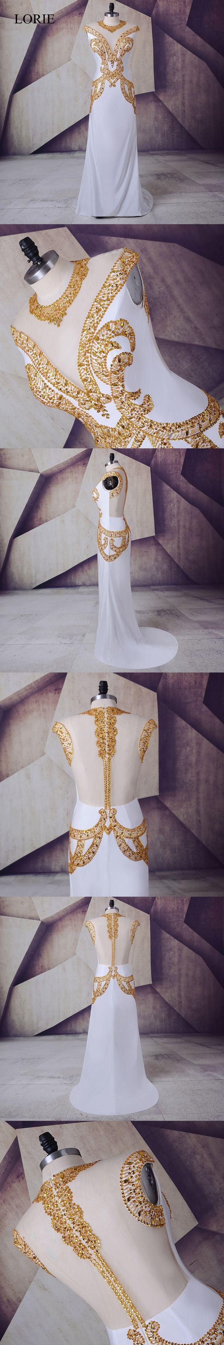 White Gold Prom Dress 2017 LORIE Vestidos de gala largos Spandex Plus Size Evening Gown Sheer Illusion Formal Long Party Dresses