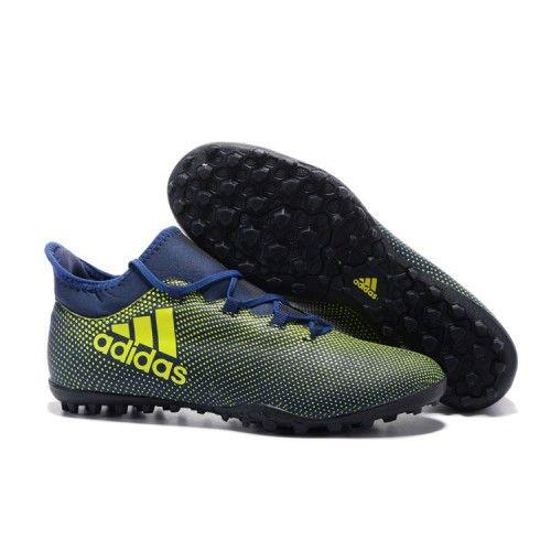 Adidas X - Chuteira Nike Botinha Adidas X 17.3 TF Azul Amarelo Preto