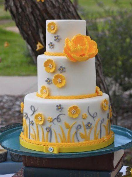 beautiful fondant + perfect layers: Yellow Flowers, Cakes Ideas, Grey Wedding, Gray Wedding, Yellow Wedding, Color, Wedding Cakes, Flowers Cakes, Yellow Cakes