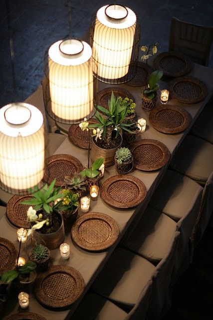 Brown color scheme, lanterns and succulents. This brown on brown is amazing. These chargers are readily available but placed on the brown tablecloth, they completely change. #tablescapes #tables #entertaining