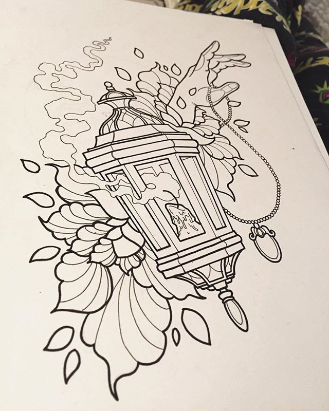Sunday Funday! Something that's not a portrait or animal for once! Oh my god. #lantern #antiquelantern #lanterntattoo #hand #neotraditional #neotraditionaltattoo #tattooapprentice #tattooapprenticeship #outline #flowers #drawing #illustration #design #tattoodesign
