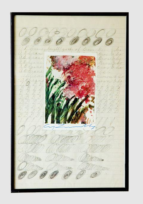 Autographe de C.Y Twombly dans un assemblage de l'artiste Quinze.