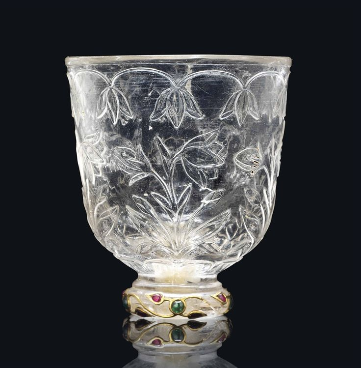 A MUGHAL GEMSET ROCK-CRYSTAL CUP -  INDIA, LATE 17TH/EARLY 18TH CENTURY