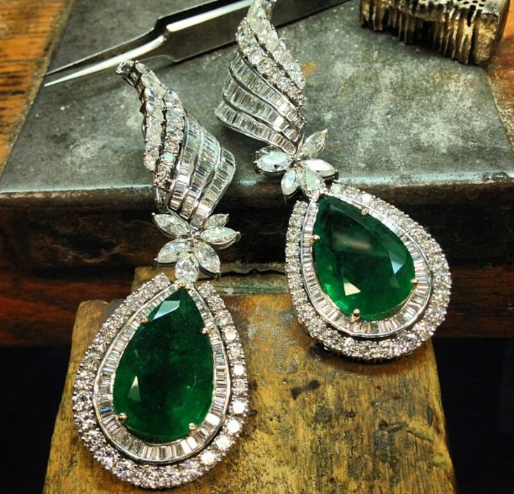 Emerald and diamond earrings ~ Instagram