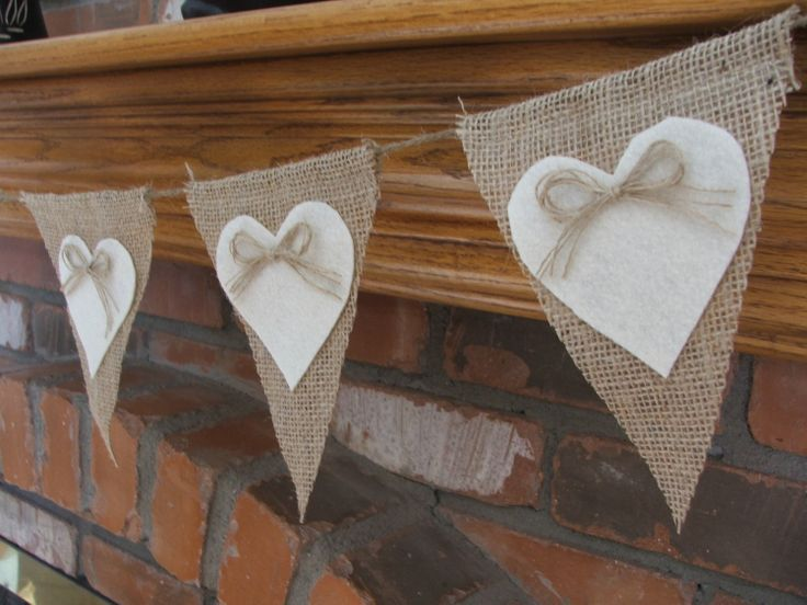 Wedding garland burlap banner with cream felt hearts rustic wedding decoration Valentines garland. $26.00, via Etsy.