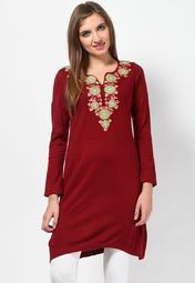 Perfect to be worn to work, this red coloured kurta from the house of Aurelia will make you look beautiful. Made of acrylic, this kurta is comfortable to wear. Pair this regular-fit kurta with a black coloured churidar and hit the streets in style.