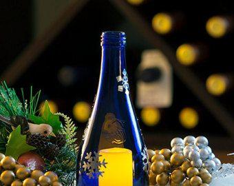 Los copos de nieve, luminaria luz del té, linterna LED, lámpara del Tealight, botella de vino, lámpara de huracán, regalo del amante de vino, regalo de la anfitriona, pieza central de plata