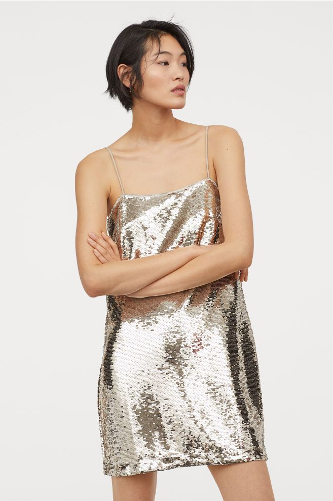 3b76ea4a H&M Short Sequined Dress - Beige in 2019 | My Style (Shopping List ...