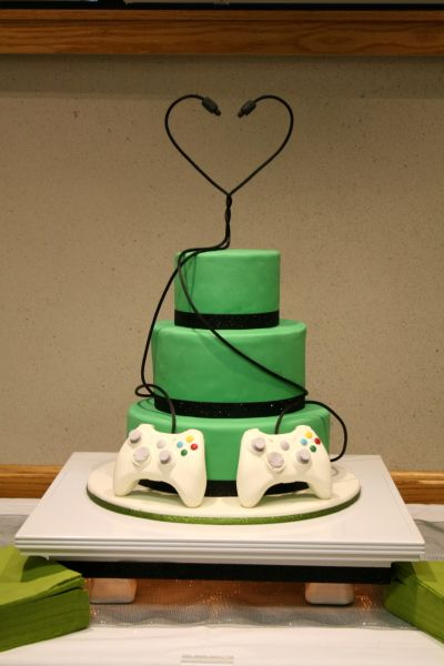 Love this idea, but maybe one xbox and one ps? Need elements of other consoles, etc throughout the cake.