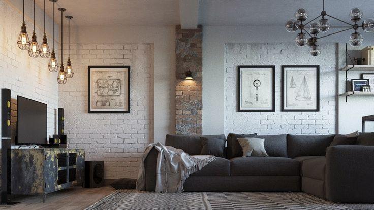 MJMarchdesign : Дизайн интерьера гостиной в стиле лофт          ...