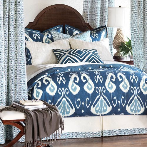 Amal Moroccan Bedding in Navy Blue
