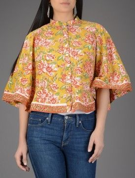 Green-Maroon Block-printed Mandarin Collar Cotton Cape