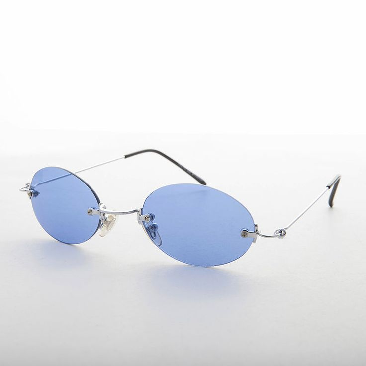 90s Vintage Rimless Oval Blue Colored Lens Sunglasses NOS  - Piper | Clothing, Shoes & Accessories, Vintage, Vintage Accessories | eBay!
