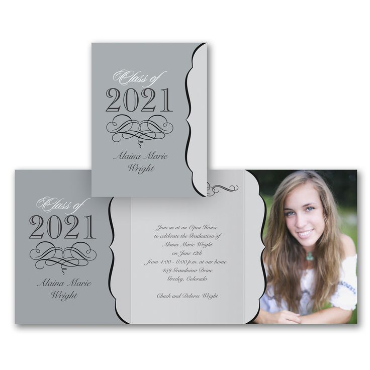 sample open house graduation party invitations%0A Four of your favorite photos and your graduation announcement  so you