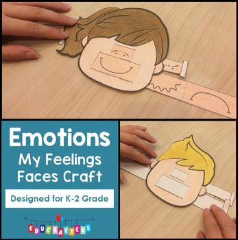 "Feelings Faces Craft FREEBIE - EmotionsEngage your students in a discussion about their feelings and emotions with this fun and easy to assemble ""Feelings Faces Craft Freebie!""  We love to use this as part of our Feelings and Emotions Math and Literacy Unit for Kindergarten, but this is also a great addition to beginning of the school year talks about handling feelings, as a component of a writing center, as a way to get writers to consider feelings of characters, or just as a fun little…"