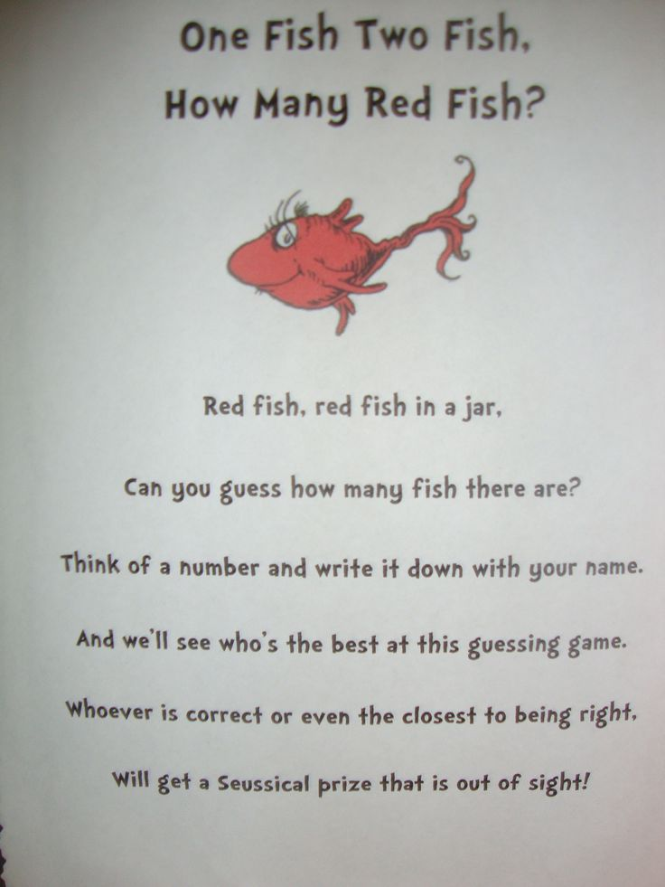 Quot Guess How Many Fish Quot Game Poem Dr Seuss Birthday Party