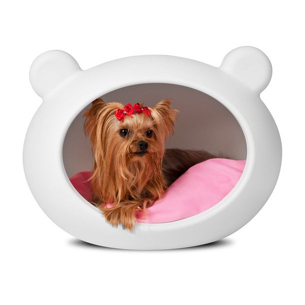 dog bed white pink