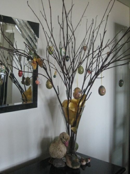 originele Pasen decoratie glazen vaas pasen boom