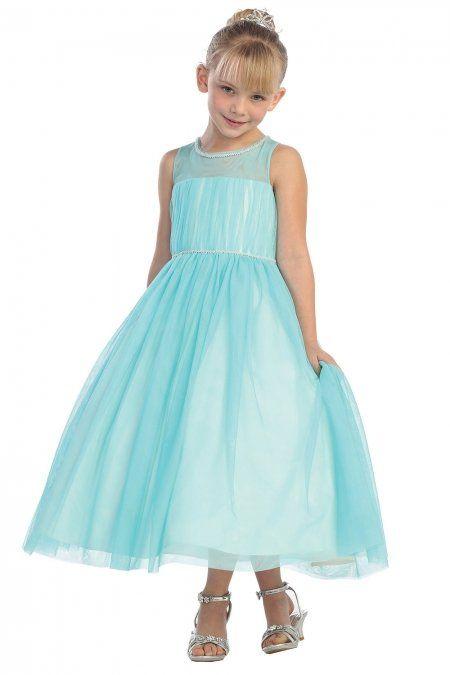 b64d12b88 Aqua Sleeveless Tulle Overlaid Girl Dress in 2018