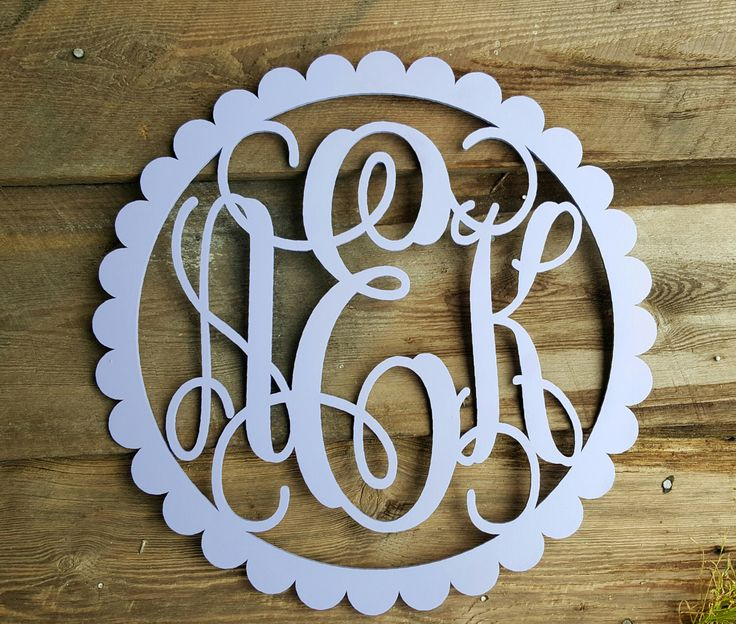Painted Wooden Monogram - Wooden Initials - Scallop Border - Wooden Monogram Wall Hanging by BarnLove on Etsy https://www.etsy.com/listing/277272084/painted-wooden-monogram-wooden-initials