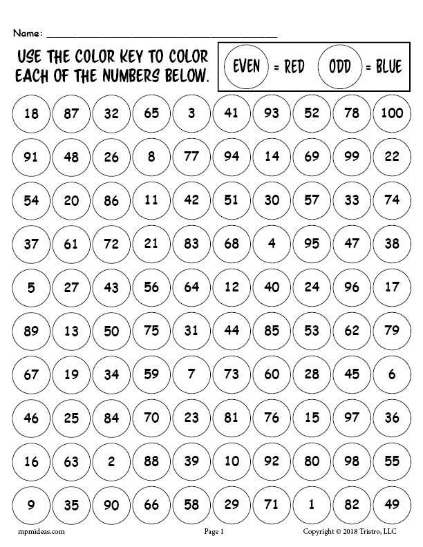 Printable 100th Day of School Odd and Even Numbers
