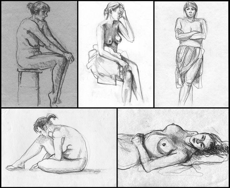Szkice postaci, rok 2005. #art #nude #girl #drawing