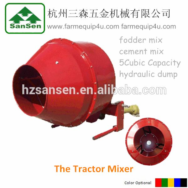 Tractor 3 Point Concrete Mixer with PTO Shaft Driven and Hydraulic Cylinder Dump