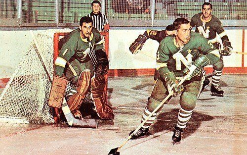 Cesare Maniago, Bob Woytowich, and other North Stars, 1967-68?