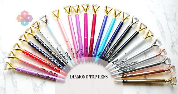PLEASE READ FULL LISTING FOR CURRENT STOCK INVENTORY Send a handwritten note with this fashionable LARGE DIAMOND TOP pen! This pen writes beautifully and makes a great gift for girlfriends, family, bridesmaids, hostess or teachers gift. This gorgeous pen blends functionality with feminine elegance. It is the PERFECT pen for wedding guest books or baby shower guest books. Choose from the following gorgeous colors.  COLORS AVAILABLE:  Purple Polka Dot Pink Polka Dot {OUT OF STOCK} Red Polka…
