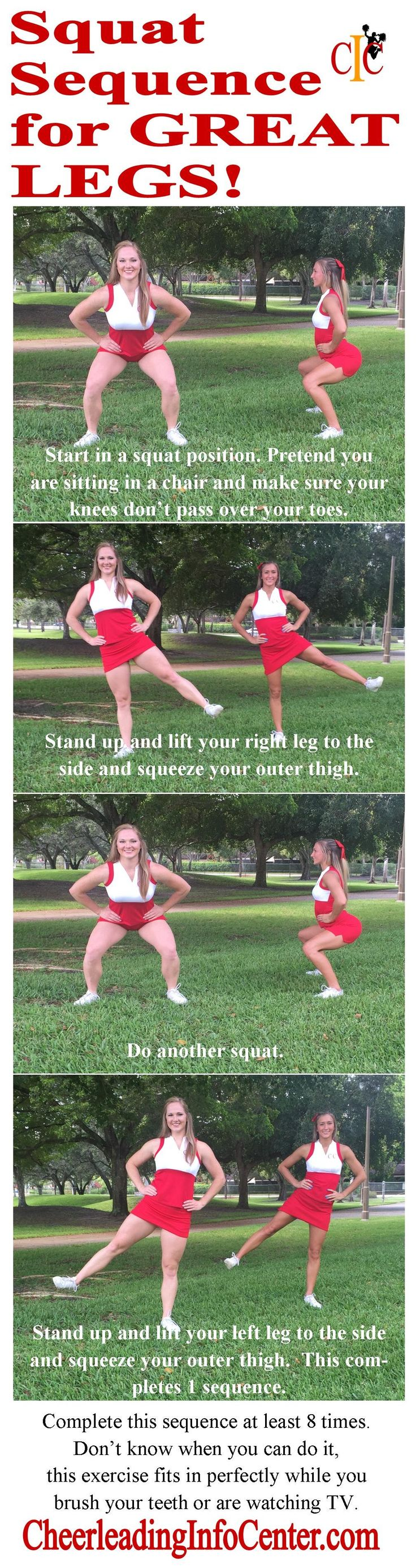 Do you want some great exercises for your legs? Check out this squat sequence that you can do while watching TV or brushing your teeth! For more great cheerleading tips, check out CheerleadingInfoCenter.com
