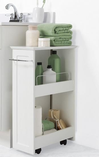 Upscale Bathroom Cart Utility White Storage Bin On Wheels 2 Wood Shelves