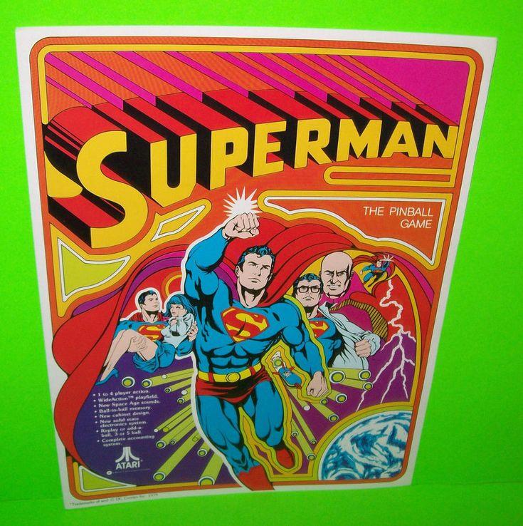 SUPERMAN By ATARI 1979 ORIGINAL NOS FLIPPER PINBALL MACHINE PROMO FLYER BROCHURE