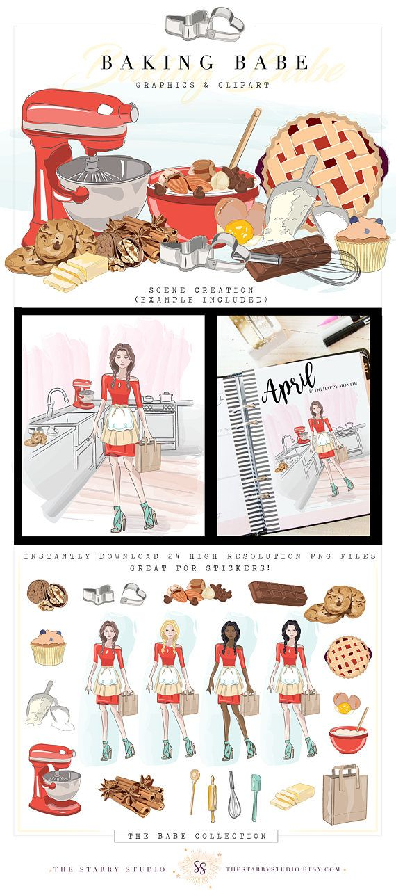 Baking babe clip art baker illustration food blogger kitchen recipe hand drawn art planner stickers planner girl digital clipart